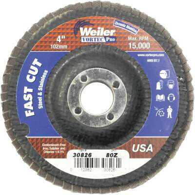 Weiler Vortec 4 In. x 5/8 In. 80-Grit Type 29 Angle Grinder Flap Disc